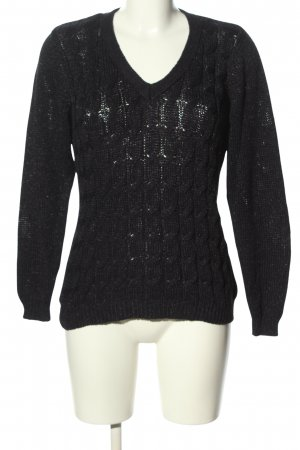 Marco Pecci Cable Sweater black cable stitch casual look