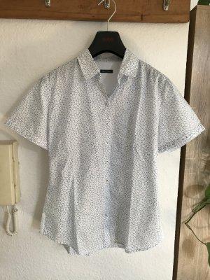 Marco Polo Chemise à manches courtes blanc-bleu acier coton