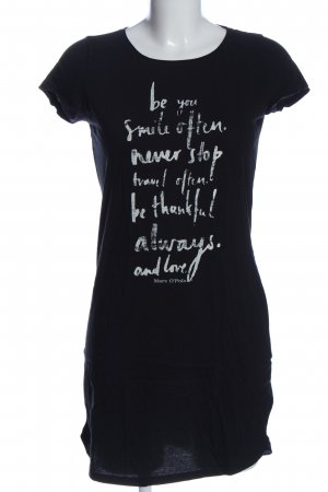 Marco Polo Shirt Dress black-white printed lettering casual look