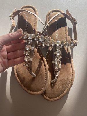 Marco Tozzi Sandalen met bandjes en hoge hakken lichtbruin-zilver