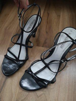 Marco Tozzi Damen Pumps offene Sandalen Größe 40 schwarz Riemchen