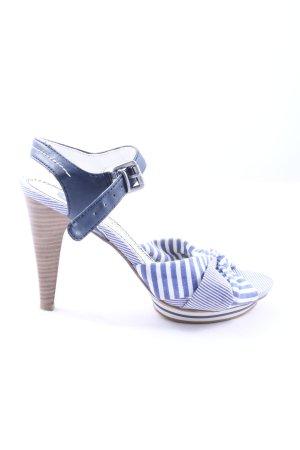 Marco Tozzi High Heel Sandaletten blau-weiß Streifenmuster Casual-Look