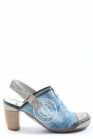 Marco Tozzi Slingback Pumps blue-light grey themed print casual look