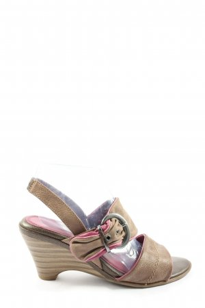 Marco Tozzi Wedges Sandaletten braun-pink Casual-Look