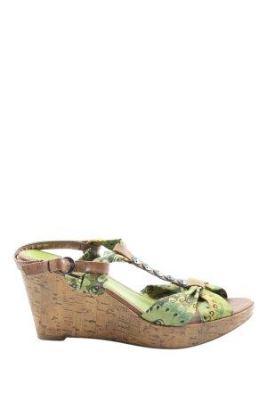 Marco Tozzi Wedges Sandaletten grün abstraktes Muster Casual-Look