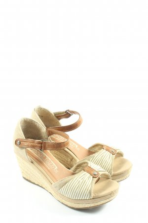 Marco Tozzi Wedges Sandaletten wollweiß-creme Streifenmuster Casual-Look