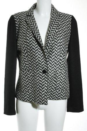 Marella Kurz-Blazer wollweiß-schwarz grafisches Muster Business-Look