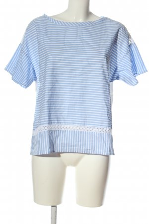 Marella Short Sleeved Blouse blue-white striped pattern casual look