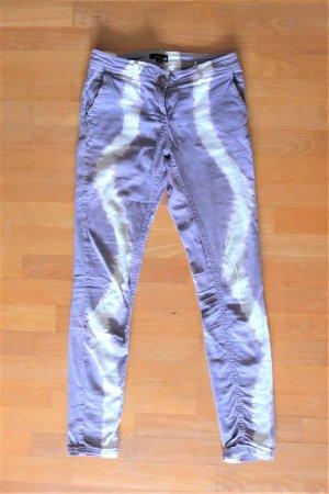 Margit Brandt Hose Jeans schmal skinny batik lila violett weiß Gr. 36 S