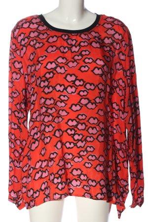 Margittes Langarm-Bluse hellorange-pink Motivdruck Casual-Look