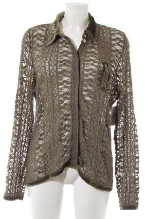 Margittes Langarm-Bluse khaki Romantik-Look
