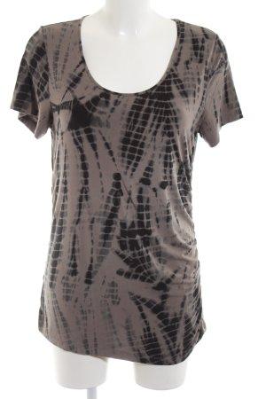 Margittes Longshirt braun abstraktes Muster Casual-Look