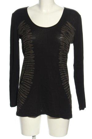 Margittes Longshirt schwarz-braun Motivdruck Casual-Look