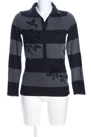 Margittes Polo-Shirt hellgrau-schwarz Blumenmuster Business-Look