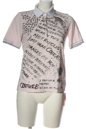 Margittes Polo-Shirt pink-weiß Schriftzug gedruckt sportlicher Stil