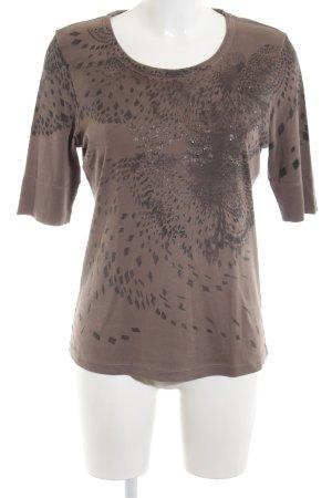 Margittes Strickshirt braun abstraktes Muster Casual-Look