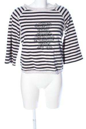 Margittes Sweatshirt wollweiß-schwarz Streifenmuster Casual-Look