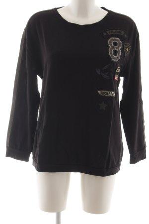 Margittes Sweatshirt schwarz-braun Motivdruck Casual-Look