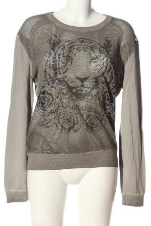 Margittes Sweatshirt hellgrau-braun Motivdruck Casual-Look