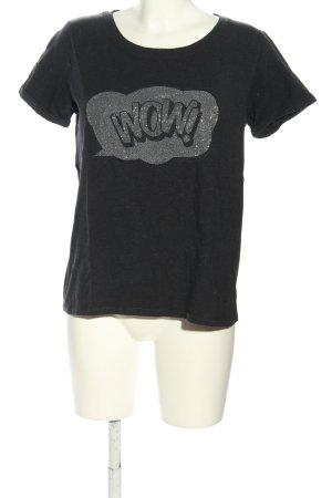 Margittes T-Shirt schwarz-silberfarben Motivdruck Casual-Look