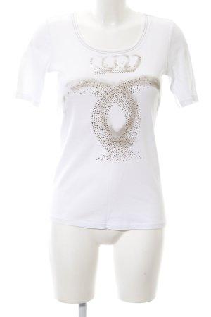 Margittes T-Shirt weiß-braun Motivdruck Casual-Look