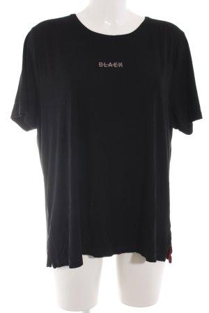 Margittes T-Shirt schwarz Schriftzug gedruckt Casual-Look