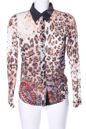 Margittes Transparenz-Bluse abstraktes Muster extravaganter Stil