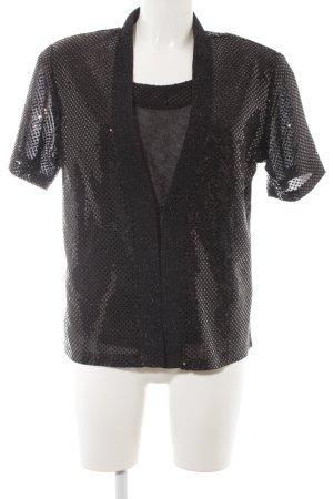 Maria Belessi Web Twin Set schwarz-silberfarben Punktemuster Casual-Look