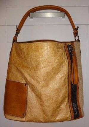 ***Maria C. Handtasche Shopper Beuteltasche Materialmix Waschpapier Leinen 42x32 cm*** letzte Reduzierung