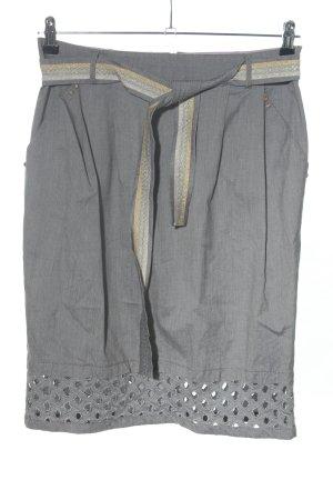 Maria Grazia Severi Jupe taille haute gris clair moucheté style décontracté