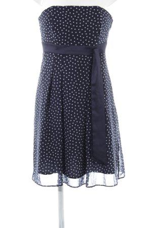 Marie Blanc Bandeaukleid blau-weiß Punktemuster Elegant
