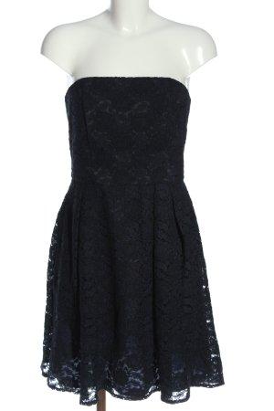 Marie Blanc schulterfreies Kleid blau-schwarz Elegant