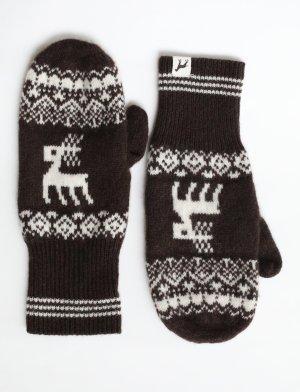 Marie Lund Handschuhe Wolle braun weiß Norweger Muster