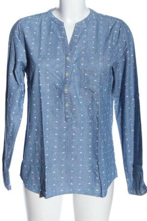 Marie Lund Hemd-Bluse blau-weiß Allover-Druck Casual-Look