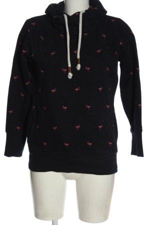 Marie Lund Felpa con cappuccio nero-rosa stampa integrale stile casual