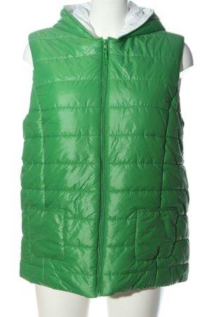 Marie Lund Gilet à capuche vert motif de courtepointe style décontracté