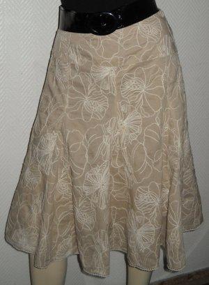 Marie Lund knielanger Rock beige creme Blumen Glockenform gestickt 36 38 S H M L