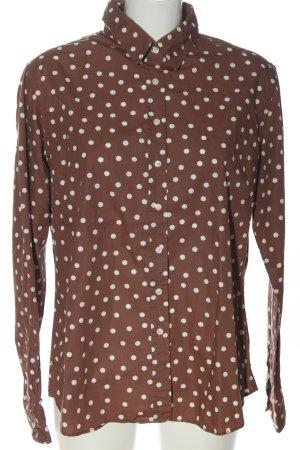 Marie Lund Camicia a maniche lunghe marrone-bianco stampa integrale elegante