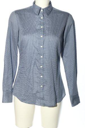 Marie Lund Camicia a maniche lunghe blu-bianco stampa integrale stile casual
