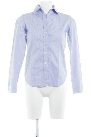 Marie Lund Langarmhemd weiß-blau Streifenmuster Logoprägung