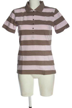 Marie Lund Polo-Shirt braun-wollweiß Streifenmuster Casual-Look