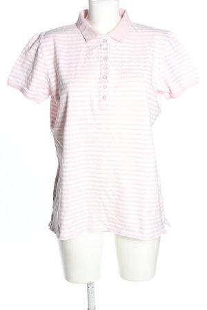 Marie Lund Polo-Shirt weiß-pink Streifenmuster Casual-Look