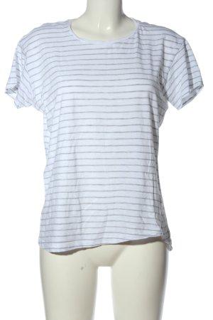 Marie Lund Maglietta a righe grigio chiaro-bianco motivo a righe stile casual