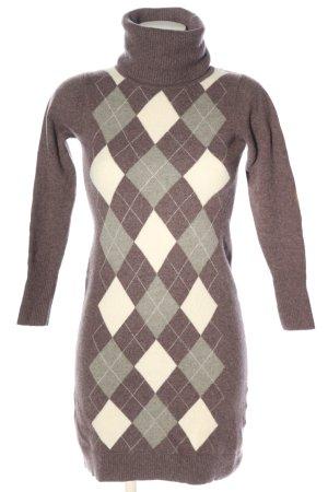 Marie Lund Vestido de lana marrón estampado gráfico look casual