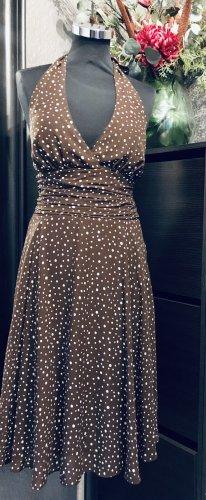 Sukienka z dekoltem typu halter ciemnobrązowy-kremowy
