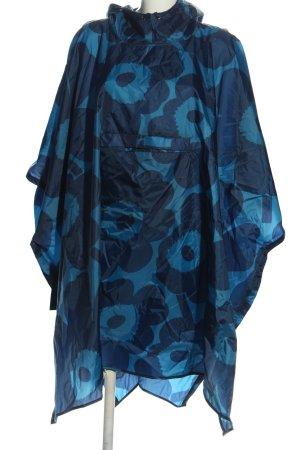 Marimekko Manteau de pluie bleu motif de fleur style décontracté