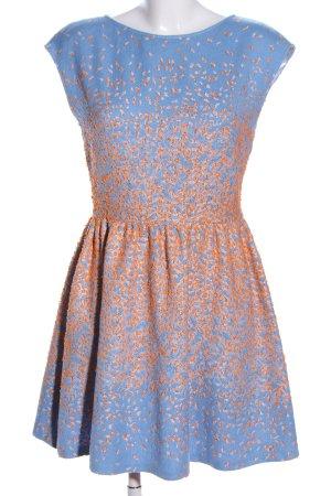 Marina Hoermanseder A-Linien Kleid blau-hellorange abstraktes Muster Elegant