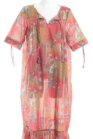 Marina Sport Kurzarmkleid rot-ocker florales Muster extravaganter Stil