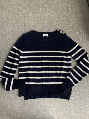 Allude Sweter z grubej dzianiny ciemnoniebieski-biały