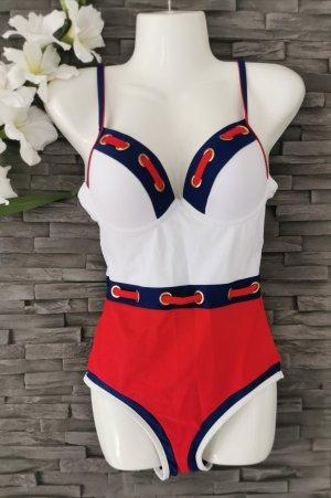 Marine Swimsuit Badeanzug Ösen Retro Vintage Bade Outfit